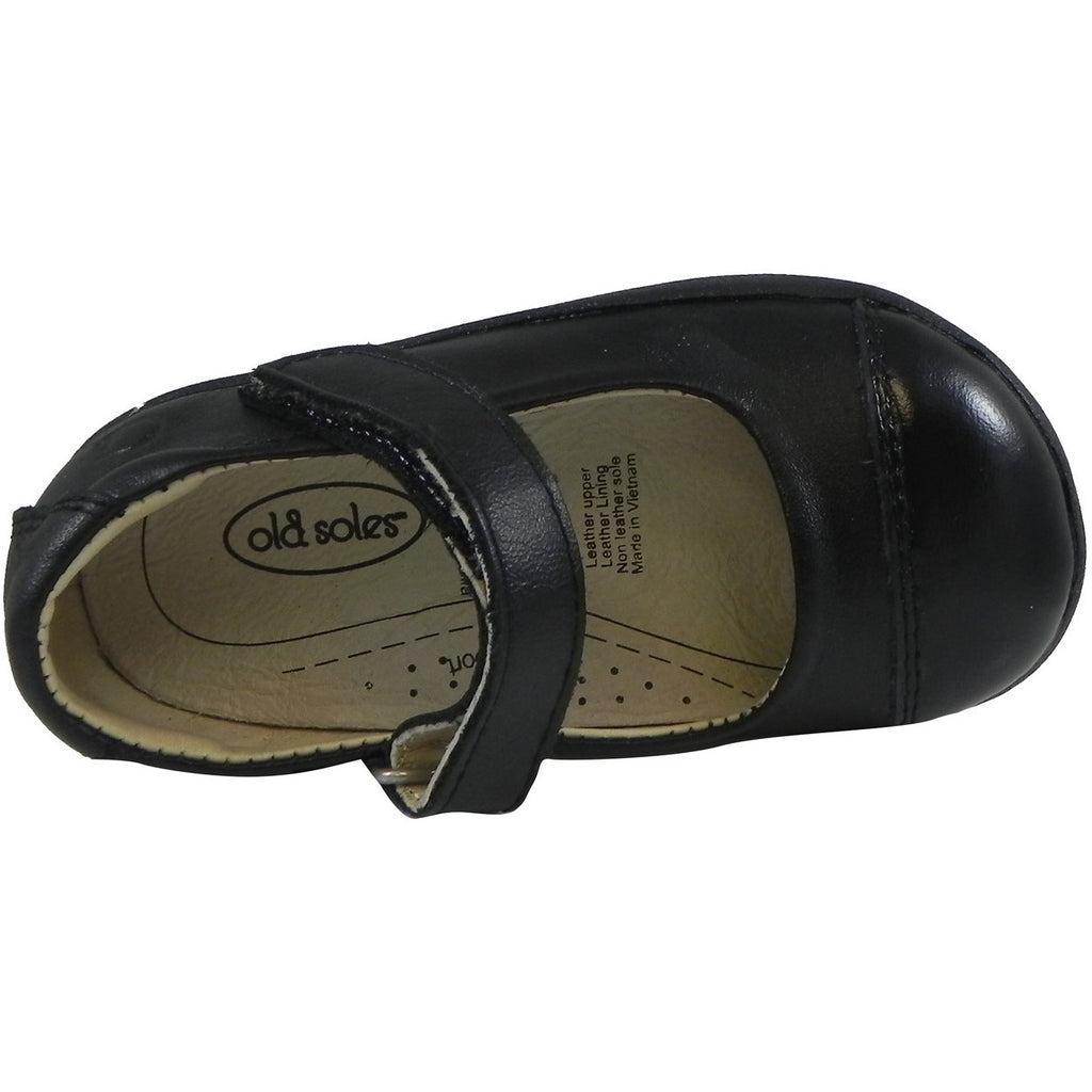 Old Soles Girl's 365 Quest Shoe Black Leather Hook and Loop Mary Jane Shoe - Just Shoes for Kids  - 6
