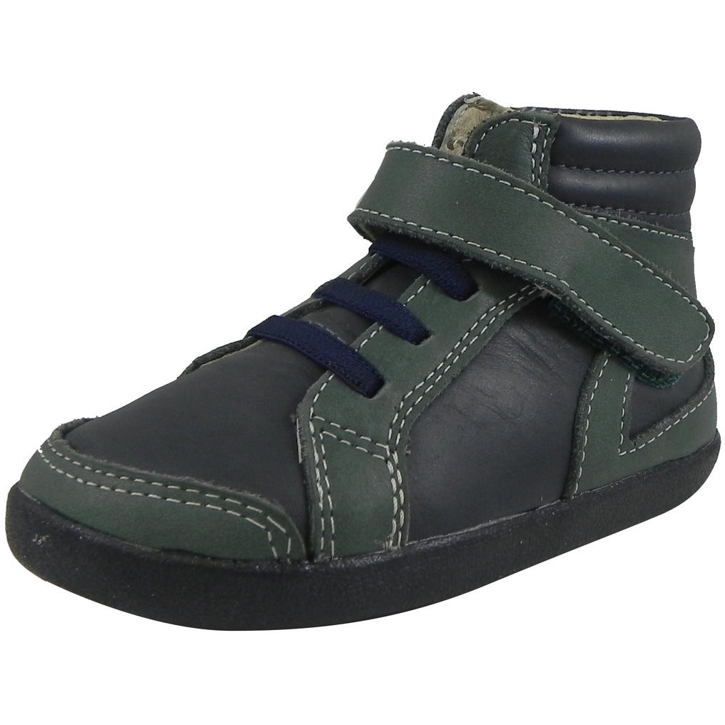 Old Soles Boy's 335 Woolfy Sneaker Navy/Emerald - Just Shoes for Kids  - 1