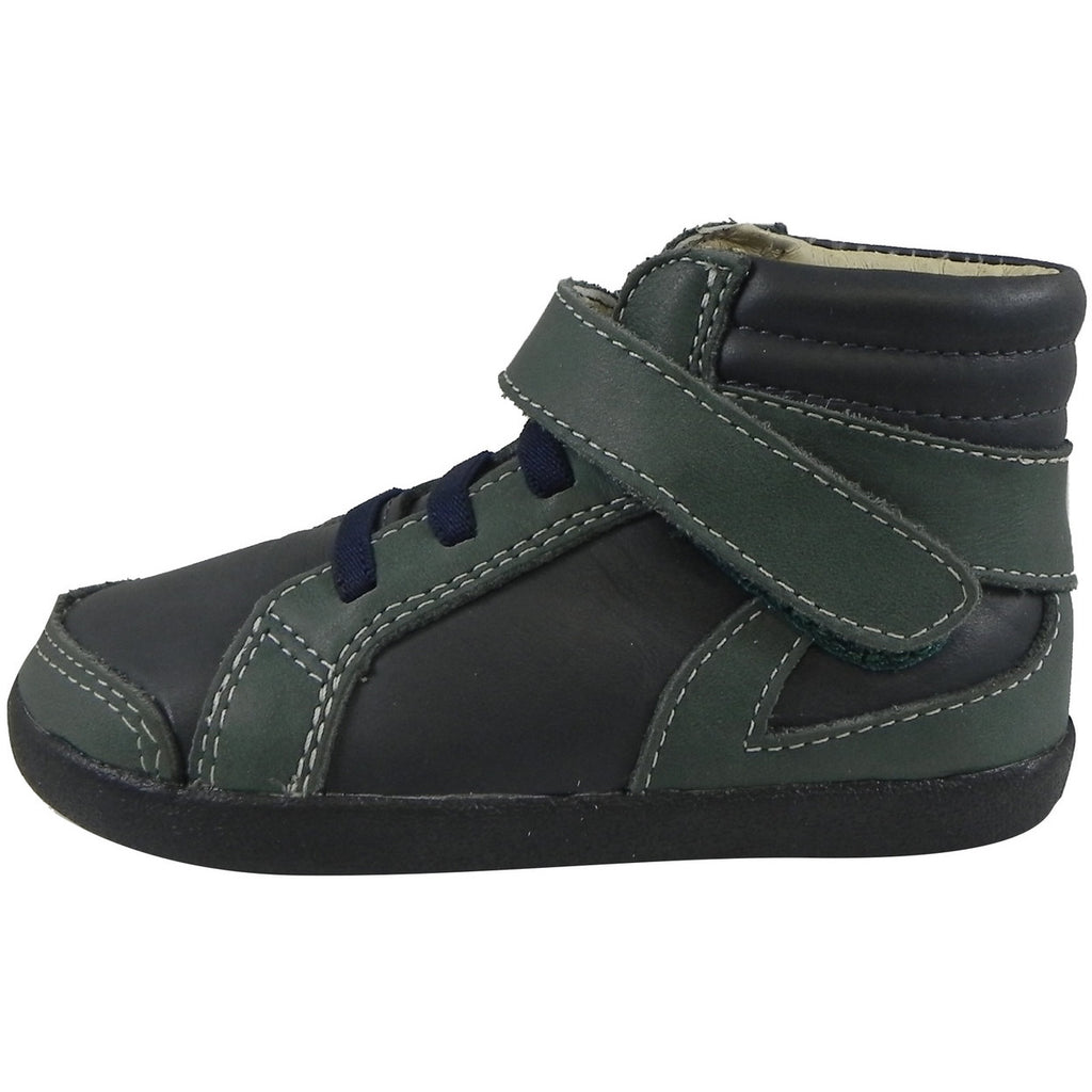 Old Soles Boy's 335 Woolfy Sneaker Navy/Emerald - Just Shoes for Kids  - 2