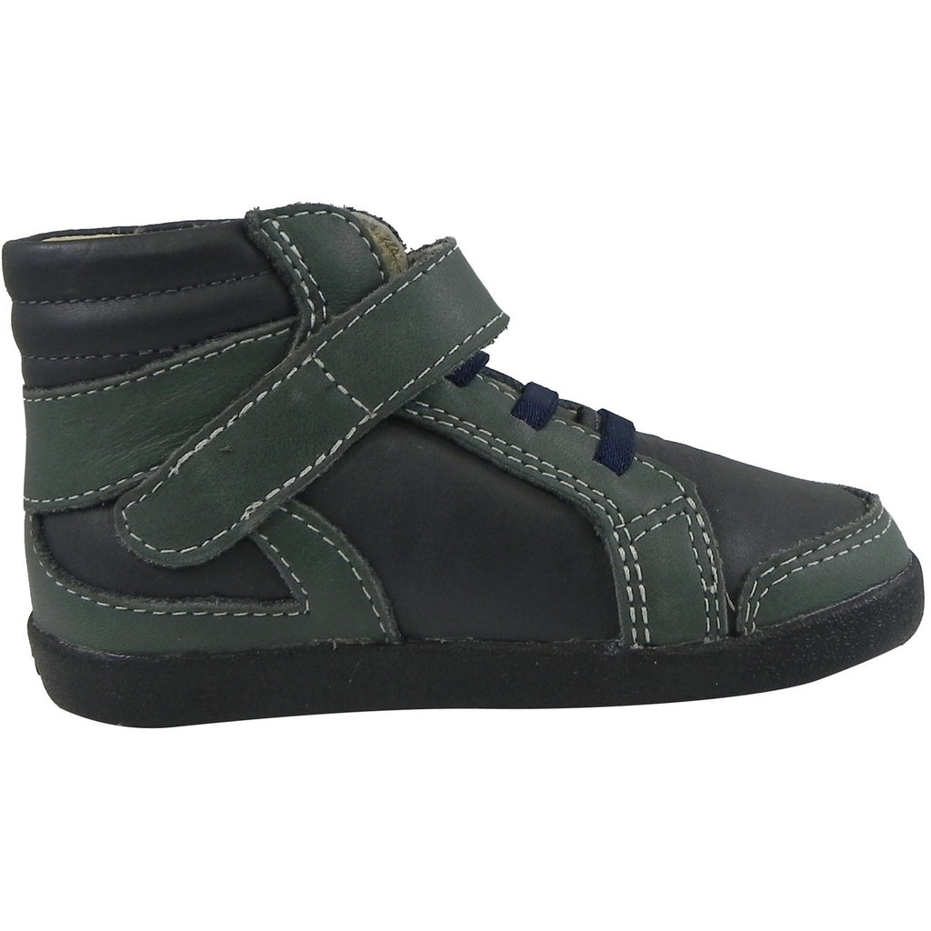 Old Soles Boy's 335 Woolfy Sneaker Navy/Emerald - Just Shoes for Kids  - 3