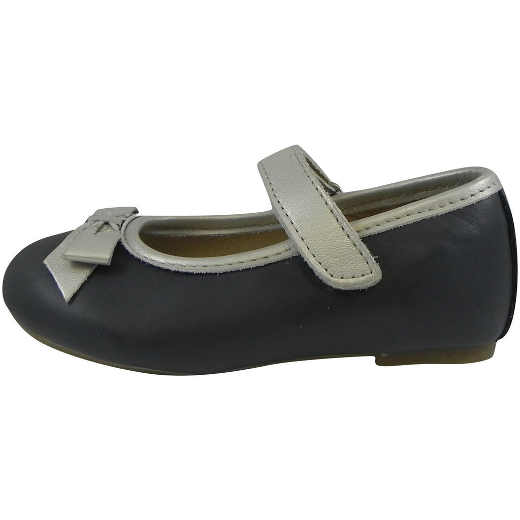 Old Soles Girl's 807 Navy & Chalk Praline Bow Flat