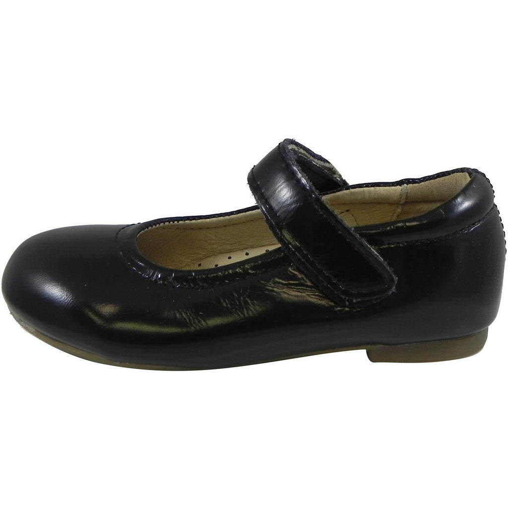 Old Soles Girl's 800 Praline Shoe Black Patent Leather Hook and Loop Mary Jane Flats