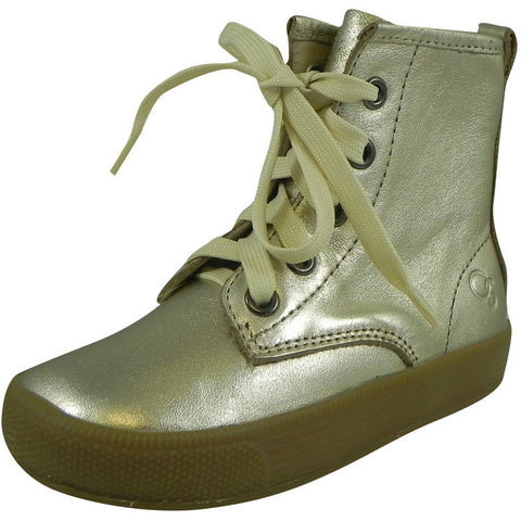 Old Soles Girl's 1023 Swag High Top Gold Leather Zip Up Stretch Lace Sneaker Boots - Just Shoes for Kids  - 1