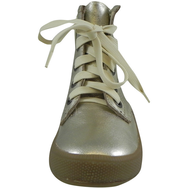 Old Soles Girl's 1023 Swag High Top Gold Leather Zip Up Stretch Lace Sneaker Boots - Just Shoes for Kids  - 4