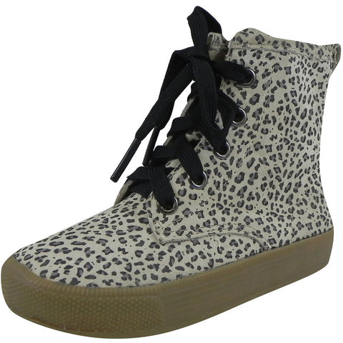 Old Soles Girl's 1023 Swag High Top Cat Leather Zip Up Stretch Lace Sneaker Boots - Just Shoes for Kids  - 1