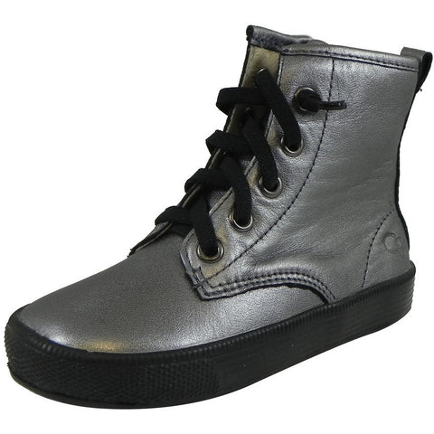 Old Soles Boy's and Girl's 1023 Rich Silver Swag High Top Leather Zip Up Stretch Lace Sneaker Boots
