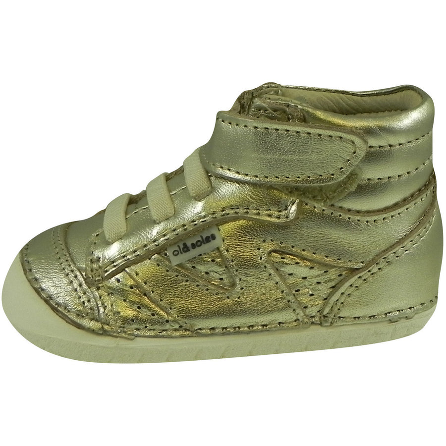 Old Soles Boy's and Girl's Gold Pave Leader Leather Elastic Laces Velcro Slip on Sneaker - Just Shoes for Kids  - 3