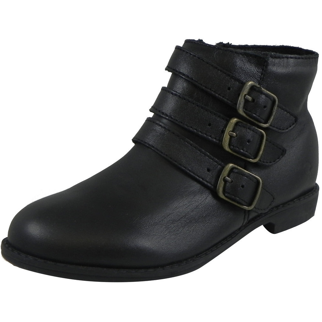 Old Soles Girl's 2015 Buckle Up Black Leather Three Buckle Bootie Boots - Just Shoes for Kids  - 1