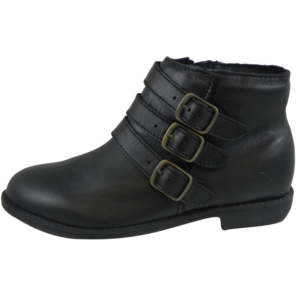 Old Soles Girl's 2015 Buckle Up Black Leather Three Buckle Bootie Boots - Just Shoes for Kids  - 2