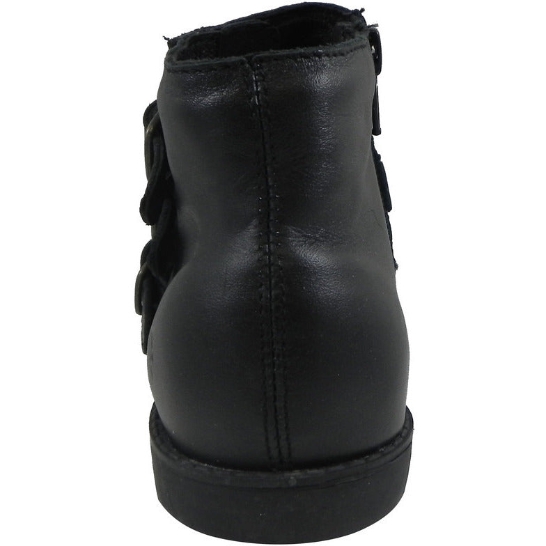 Old Soles Girl's 2015 Buckle Up Black Leather Three Buckle Bootie Boots - Just Shoes for Kids  - 5