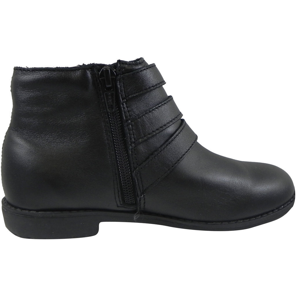 Old Soles Girl's 2015 Buckle Up Black Leather Three Buckle Bootie Boots - Just Shoes for Kids  - 3
