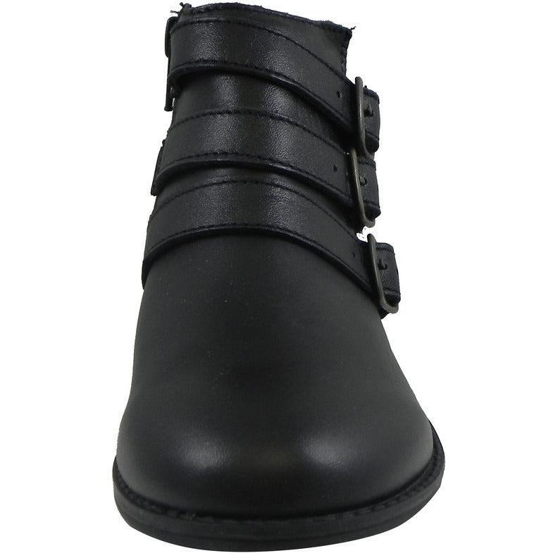 Old Soles Girl's 2015 Buckle Up Black Leather Three Buckle Bootie Boots - Just Shoes for Kids  - 4