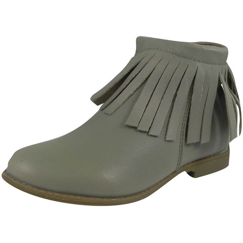 Old Soles Girl's 2012 Grey Ever Boot Leather Fringe Zipper Bootie Shoe - Just Shoes for Kids  - 1