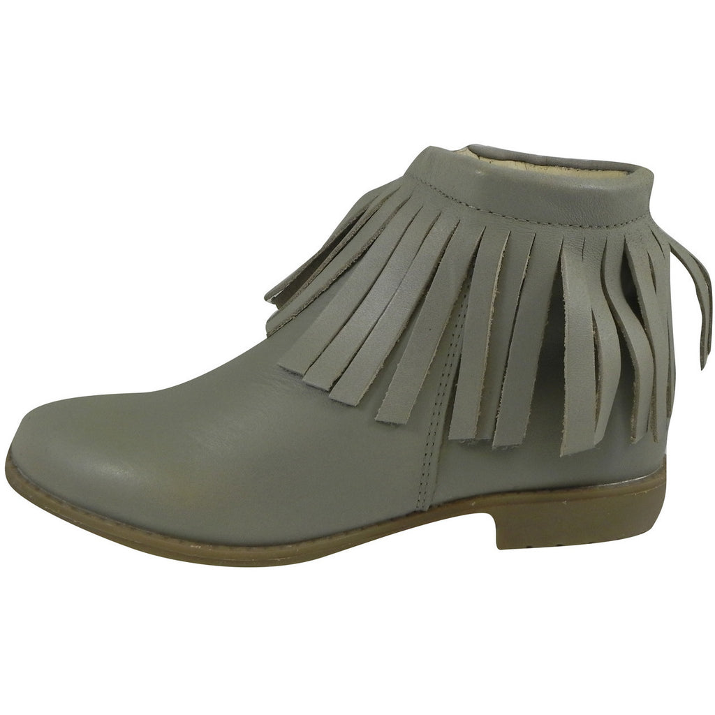 Old Soles Girl's 2012 Grey Ever Boot Leather Fringe Zipper Bootie Shoe - Just Shoes for Kids  - 2
