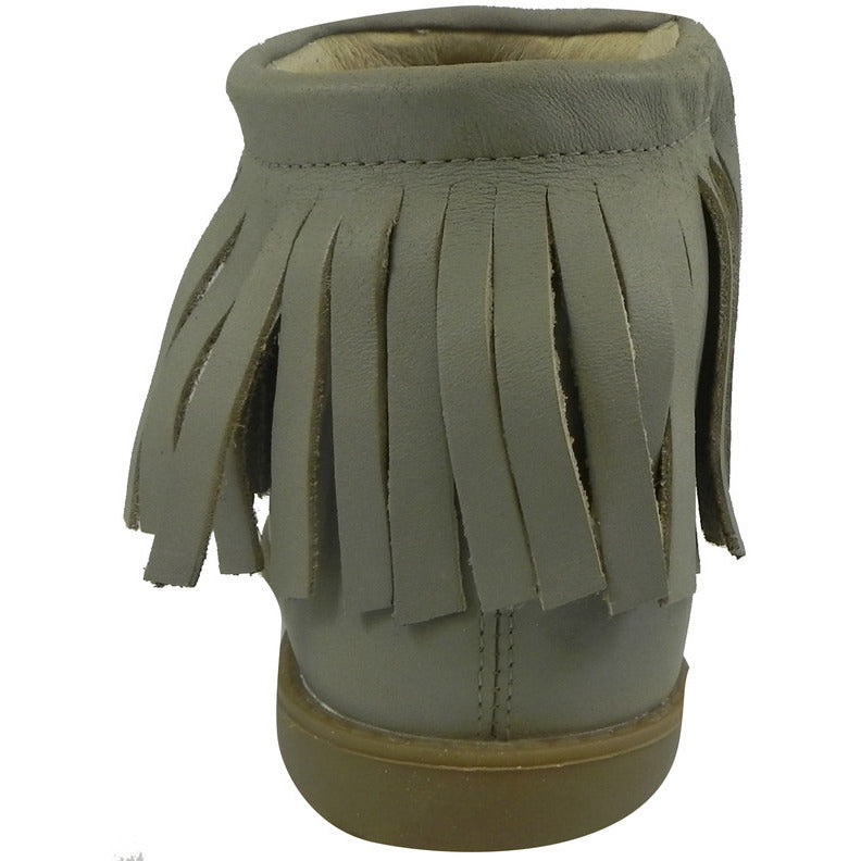 Old Soles Girl's 2012 Grey Ever Boot Leather Fringe Zipper Bootie Shoe - Just Shoes for Kids  - 5