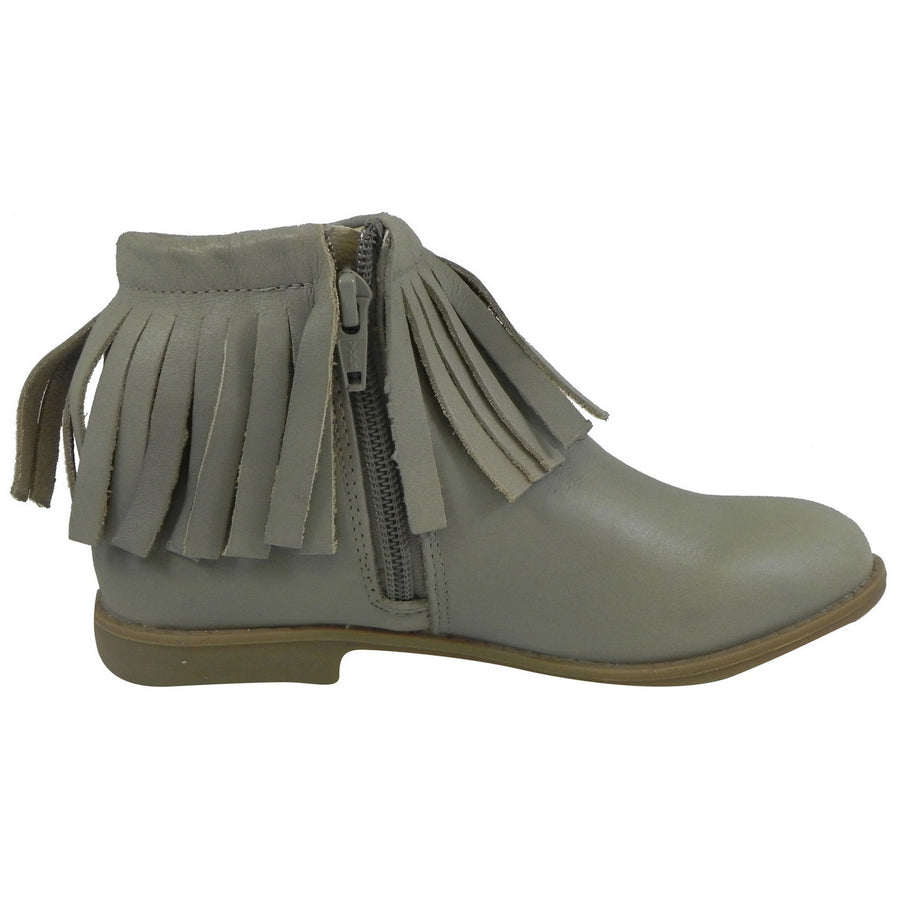 Old Soles Girl's 2012 Grey Ever Boot Leather Fringe Zipper Bootie Shoe - Just Shoes for Kids  - 3