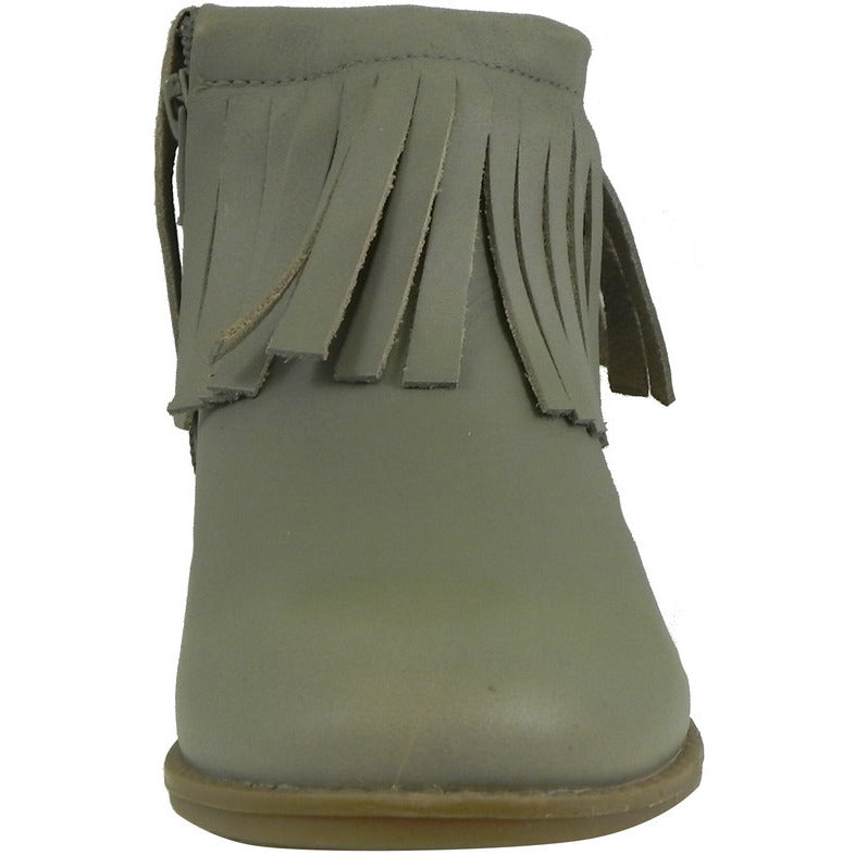 Old Soles Girl's 2012 Grey Ever Boot Leather Fringe Zipper Bootie Shoe - Just Shoes for Kids  - 4