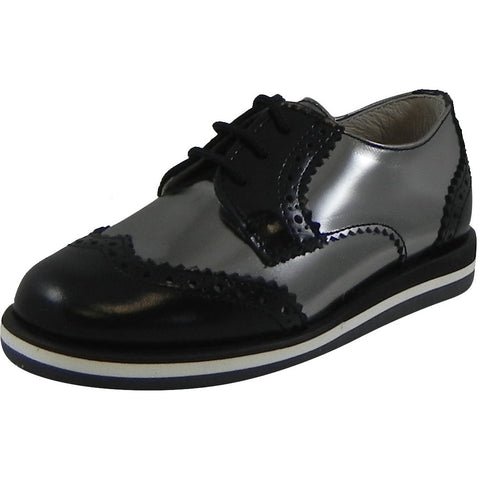 Hoo Shoes Charlie's Kid's Metallic Leather Platform Lace Up Oxford Loafer Shoes Pewter Black - Just Shoes for Kids  - 1