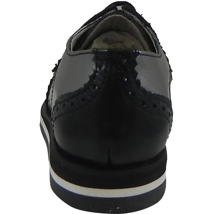 Hoo Shoes Charlie's Kid's Metallic Leather Platform Lace Up Oxford Loafer Shoes Pewter Black - Just Shoes for Kids  - 3