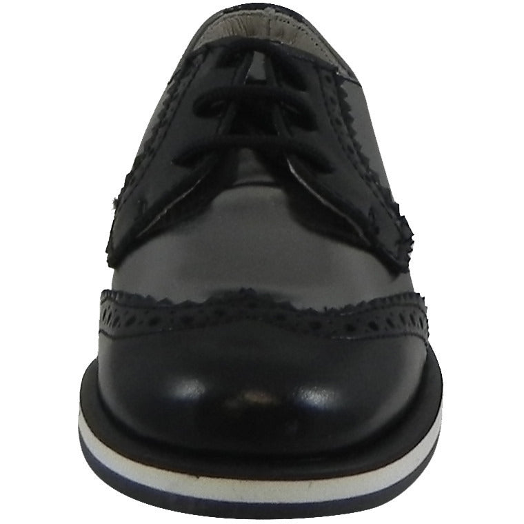Hoo Shoes Charlie's Kid's Metallic Leather Platform Lace Up Oxford Loafer Shoes Pewter Black - Just Shoes for Kids  - 5