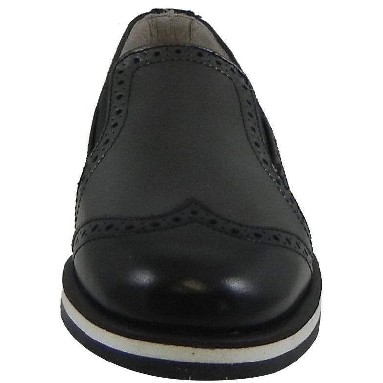 Hoo Shoes Charlie's Girl's and Boy's Metallic Leather Slip On Oxford Loafer Shoes Black Pewter