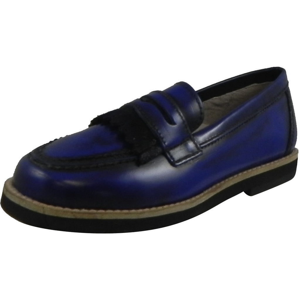 Hoo Shoes Mark's Boy's Classic Leather Slip On Oxford Loafer Shoes Royal Blue - Just Shoes for Kids  - 1