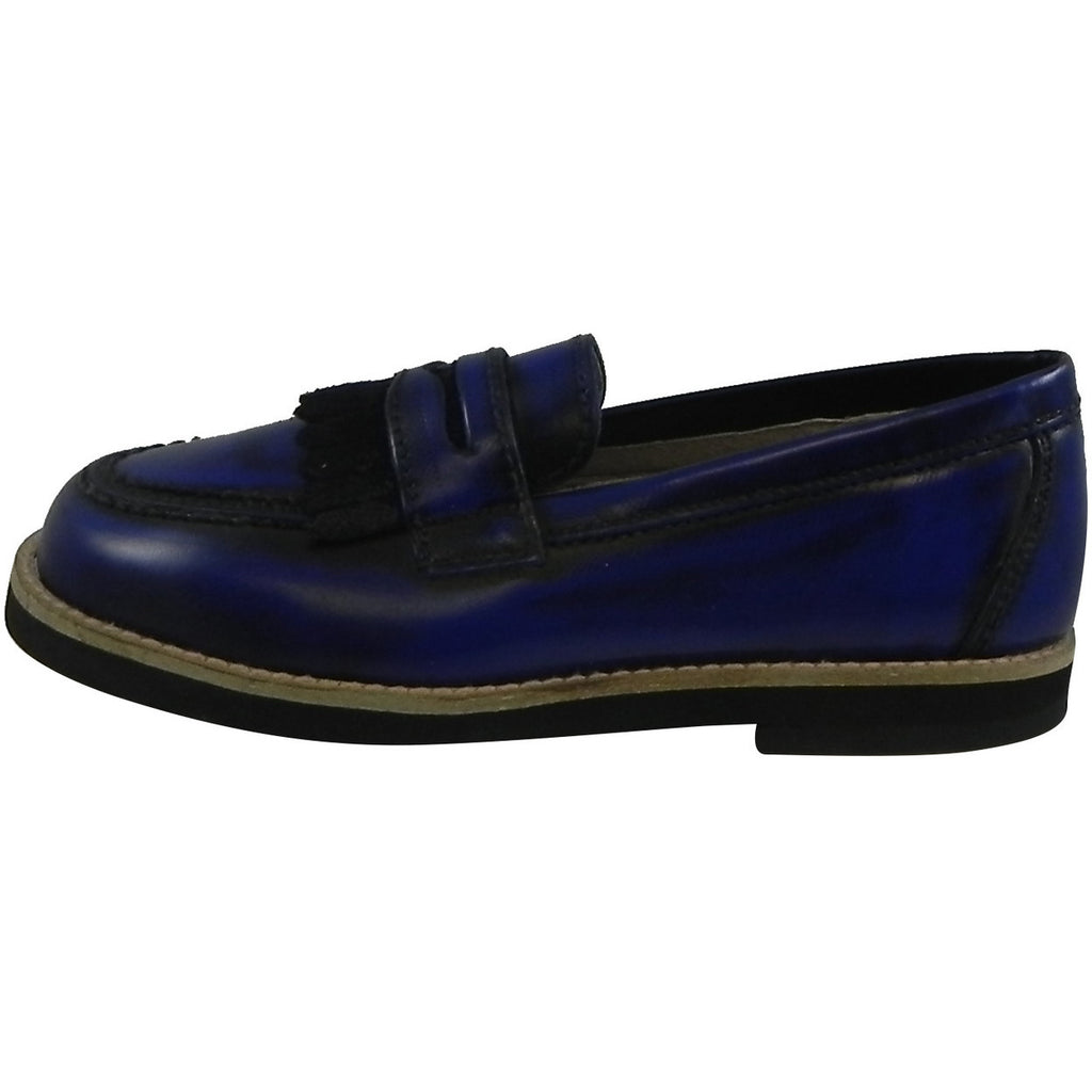 Hoo Shoes Mark's Boy's Classic Leather Slip On Oxford Loafer Shoes Royal Blue - Just Shoes for Kids  - 2