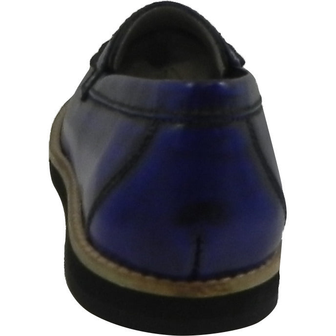 Hoo Shoes Mark's Boy's Classic Leather Slip On Oxford Loafer Shoes Royal Blue - Just Shoes for Kids  - 3