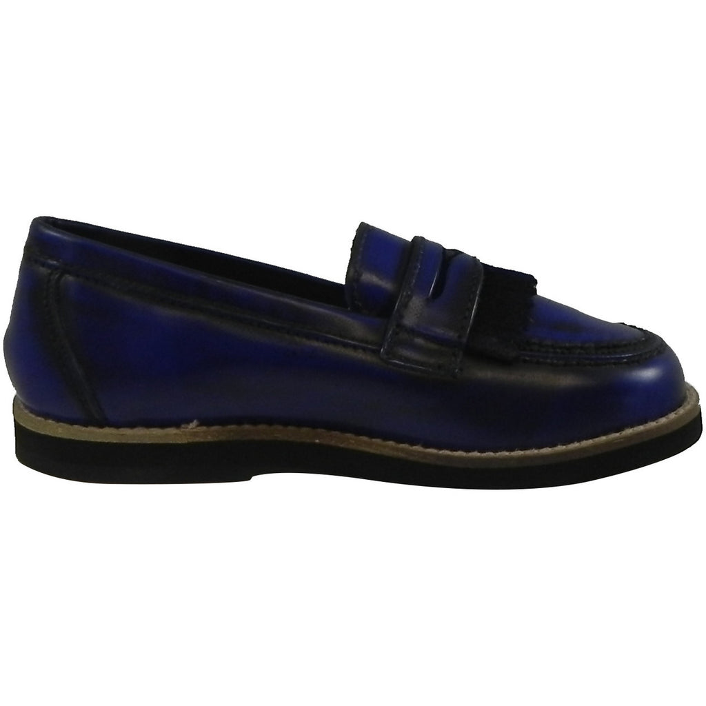 Hoo Shoes Mark's Boy's Classic Leather Slip On Oxford Loafer Shoes Royal Blue - Just Shoes for Kids  - 4