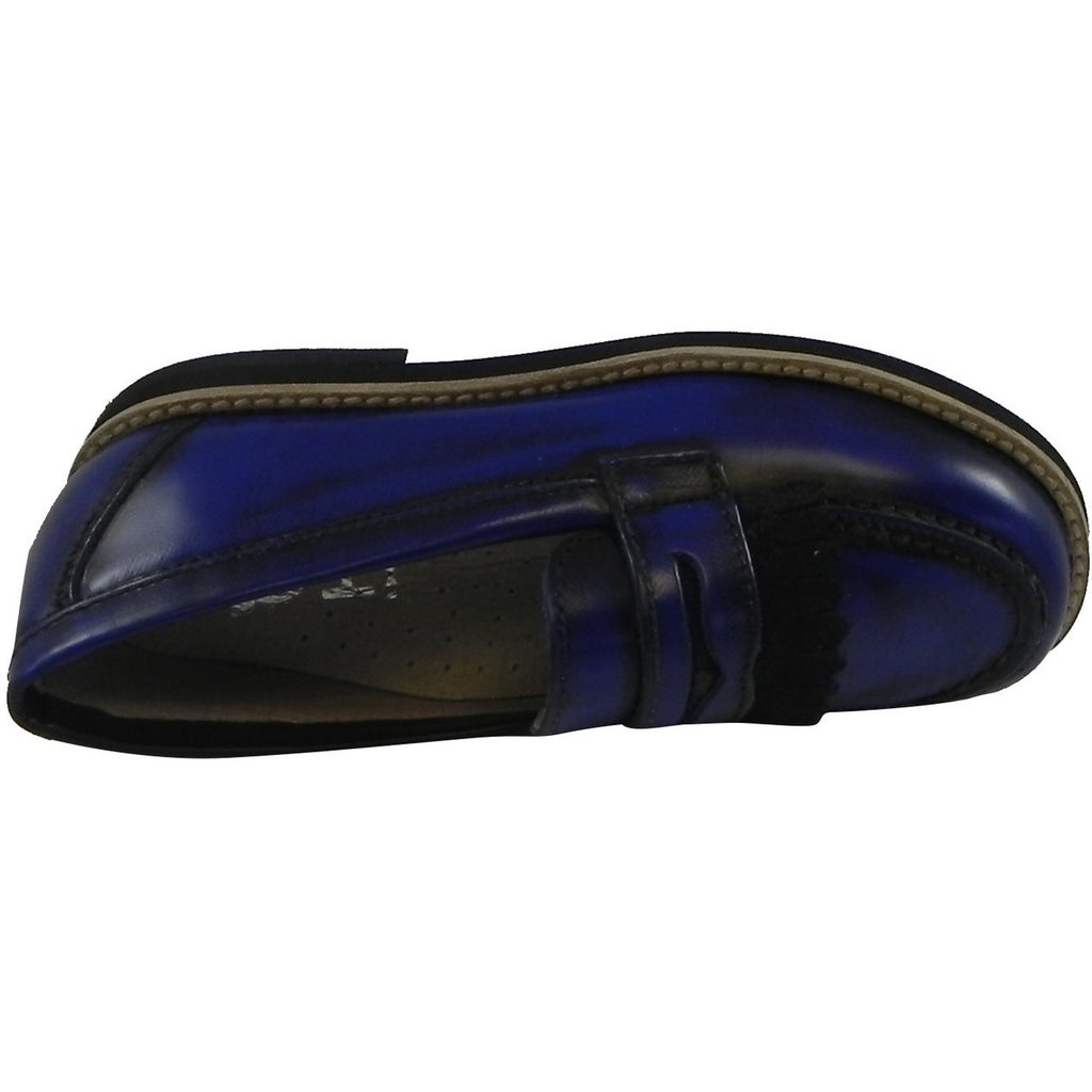 Hoo Shoes Mark's Boy's Classic Leather Slip On Oxford Loafer Shoes Royal Blue - Just Shoes for Kids  - 6