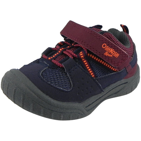 OshKosh Boy's Hallux Elastic Lace Hook and Loop Slip On Adventure Sneaker Navy/Burgundy - Just Shoes for Kids  - 1