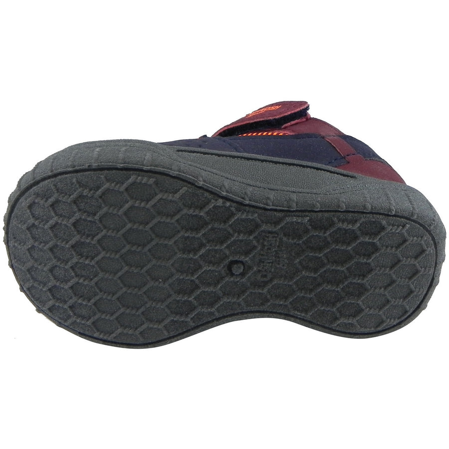 OshKosh Boy's Hallux Elastic Lace Hook and Loop Slip On Adventure Sneaker Navy/Burgundy - Just Shoes for Kids  - 7