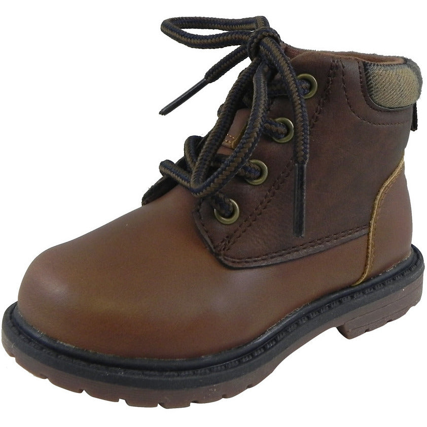 OshKosh Boy's Chandler Plaid Classic Lace Up Ankle Boots Brown - Just Shoes for Kids  - 1