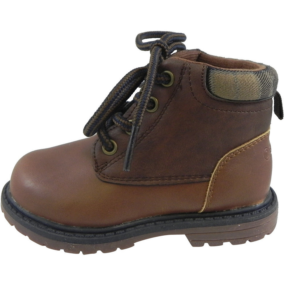 OshKosh Boy's Chandler Plaid Classic Lace Up Ankle Boots Brown - Just Shoes for Kids  - 2
