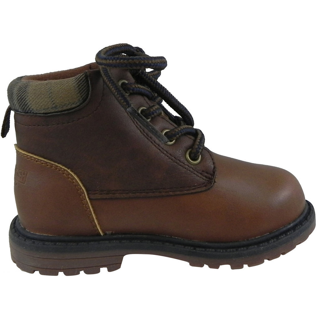 OshKosh Boy's Chandler Plaid Classic Lace Up Ankle Boots Brown - Just Shoes for Kids  - 4