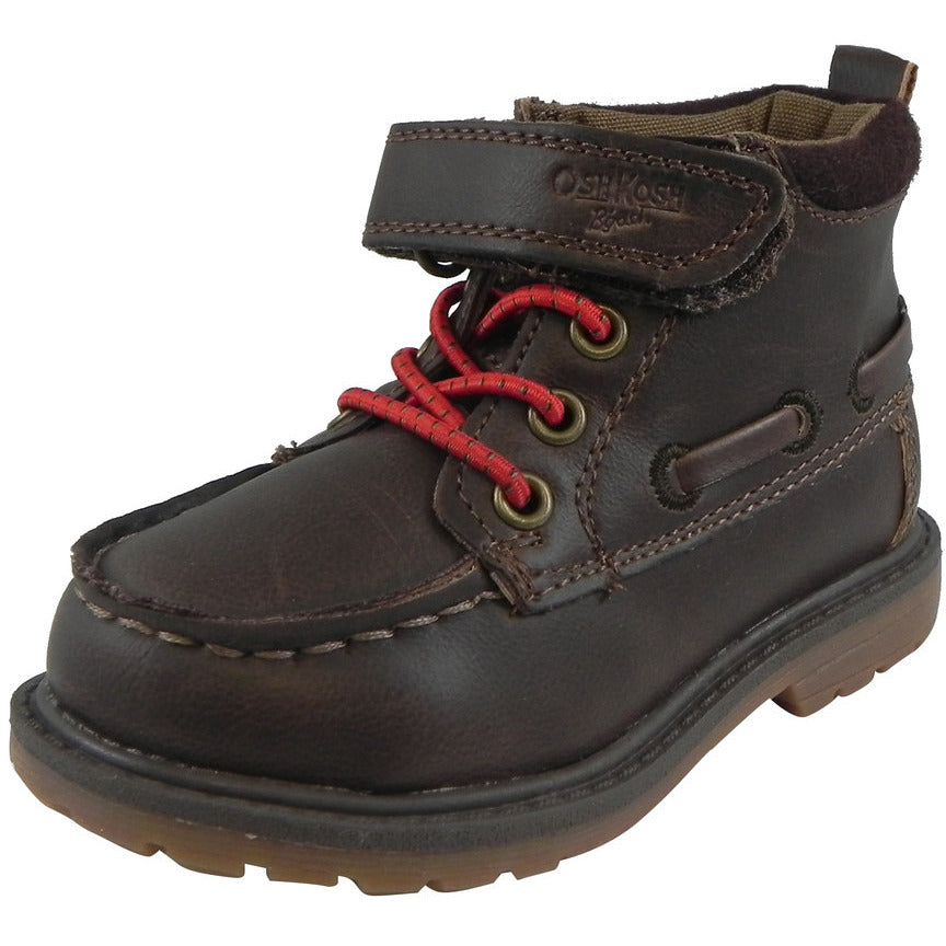 OshKosh Boy's Joey Classic Leather Stretch Laces Hook and Loop Slip On Boots Brown - Just Shoes for Kids  - 1