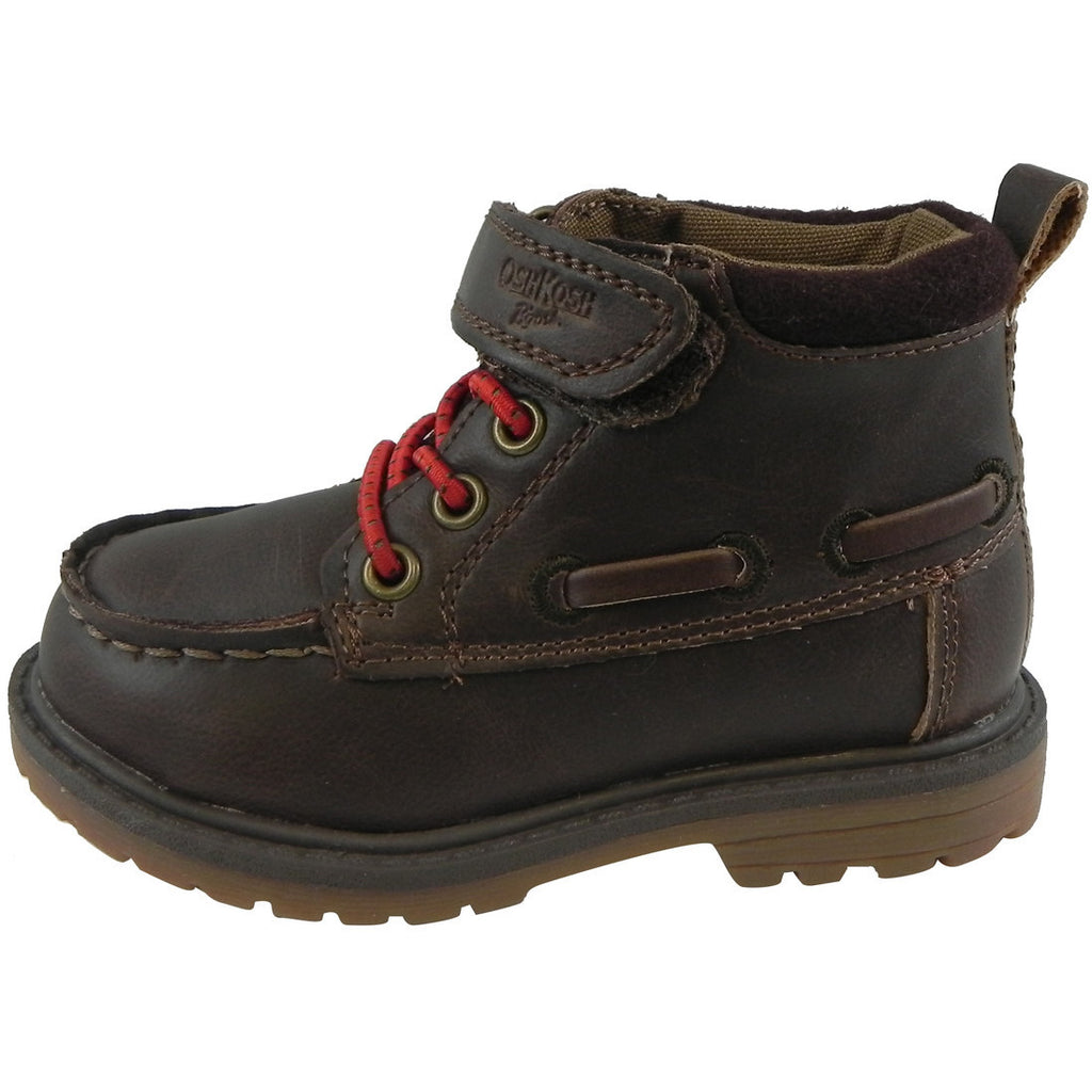 OshKosh Boy's Joey Classic Leather Stretch Laces Hook and Loop Slip On Boots Brown - Just Shoes for Kids  - 2
