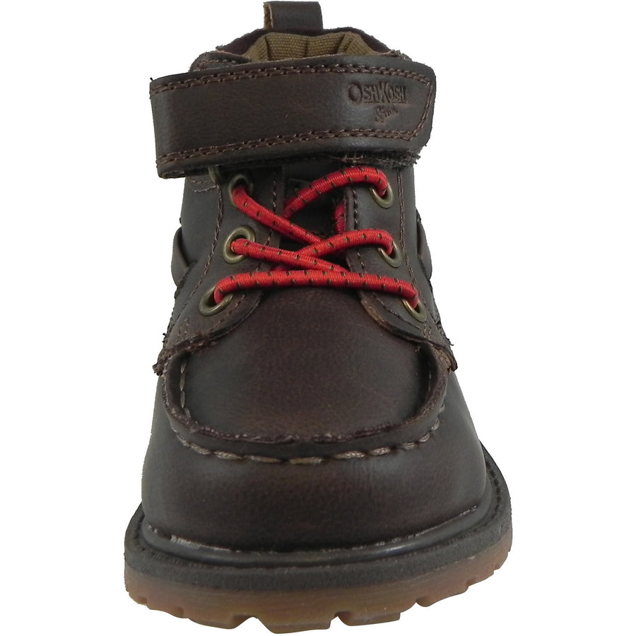 OshKosh Boy's Joey Classic Leather Stretch Laces Hook and Loop Slip On Boots Brown - Just Shoes for Kids  - 5