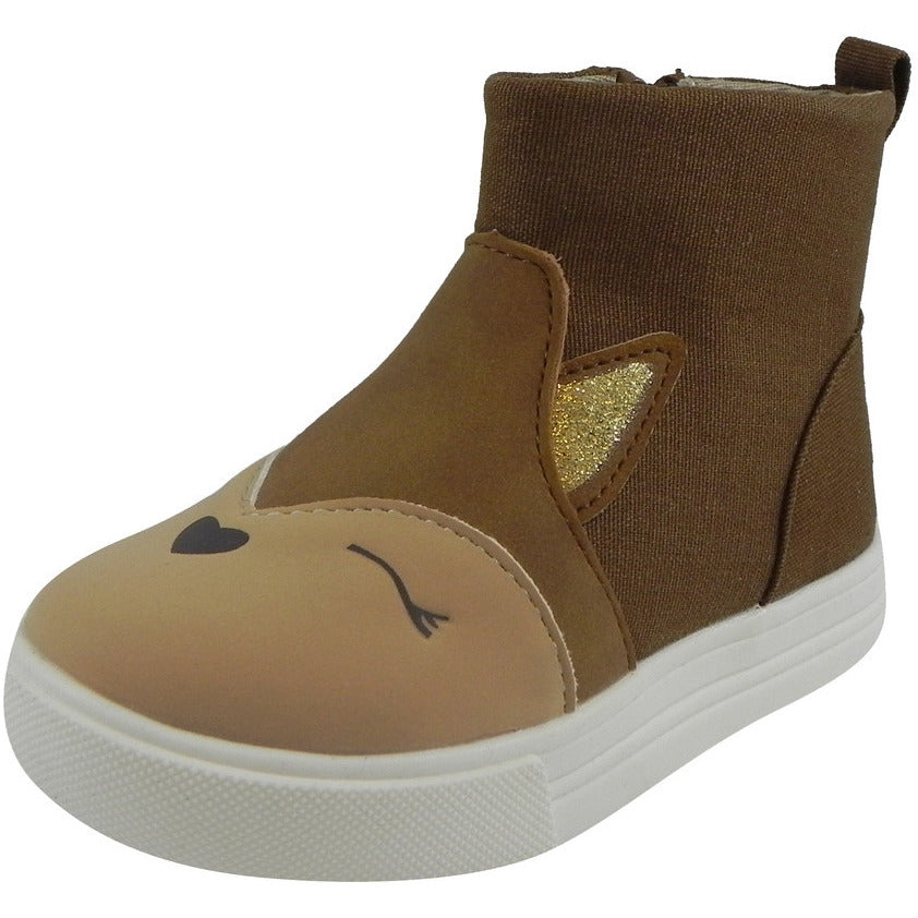 OshKosh Girl's Foxy Brown Fox Zip Up Ankle Bootie Boot Shoe Brown - Just Shoes for Kids  - 1