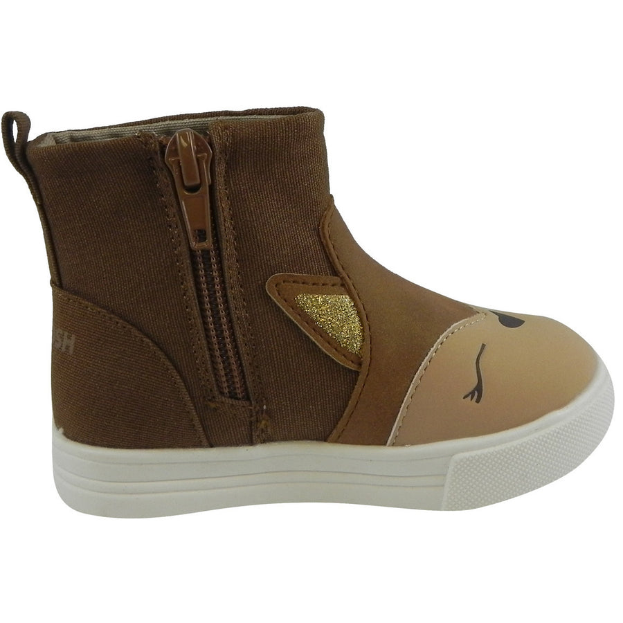 OshKosh Girl's Foxy Brown Fox Zip Up Ankle Bootie Boot Shoe Brown - Just Shoes for Kids  - 4
