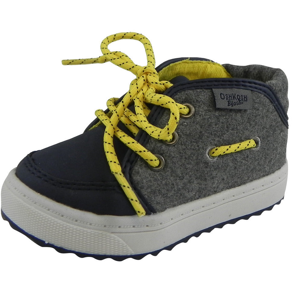 OshKosh Boy's Soft Felt Leather High Top Lace Up Sneakers Navy - Just Shoes for Kids  - 1