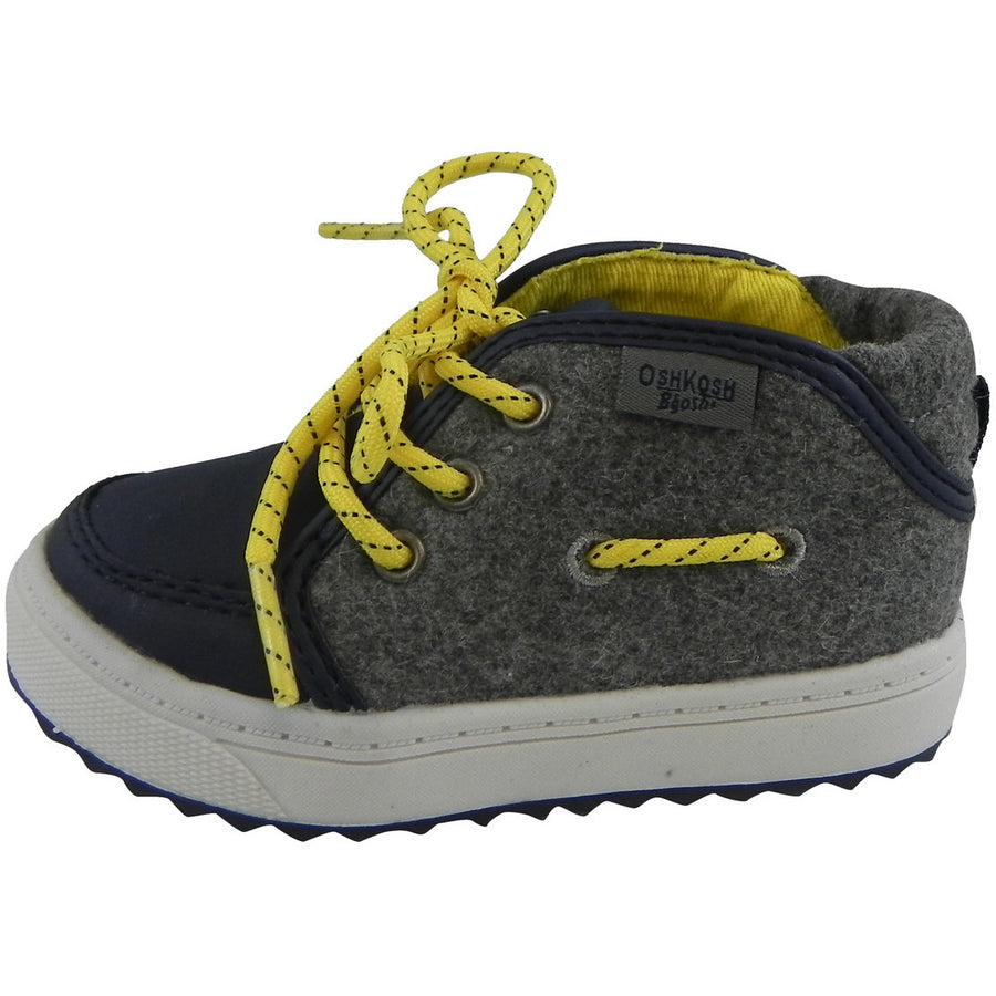 OshKosh Boy's Soft Felt Leather High Top Lace Up Sneakers Navy - Just Shoes for Kids  - 2