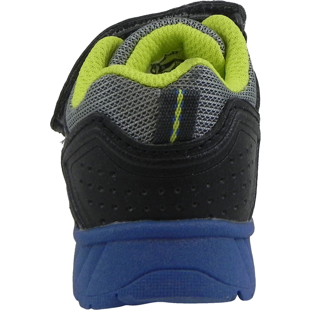 OshKosh Boy's Rivet Design Slip On Hook and Loop Sneaker Grey/Lime - Just Shoes for Kids  - 3