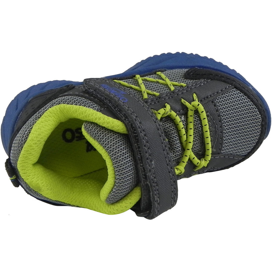 OshKosh Boy's Rivet Design Slip On Hook and Loop Sneaker Grey/Lime - Just Shoes for Kids  - 6