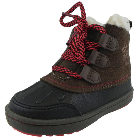 OshKosh Boy's Harrison Lace Up Extra Warm Winter Boots Black/Brown - Just Shoes for Kids  - 1