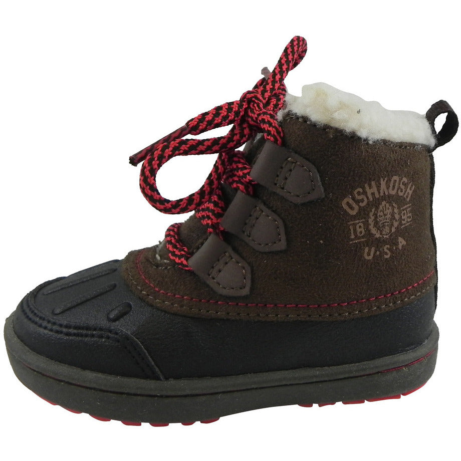 OshKosh Boy's Harrison Lace Up Extra Warm Winter Boots Black/Brown - Just Shoes for Kids  - 2