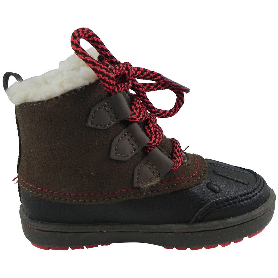 OshKosh Boy's Harrison Lace Up Extra Warm Winter Boots Black/Brown - Just Shoes for Kids  - 4