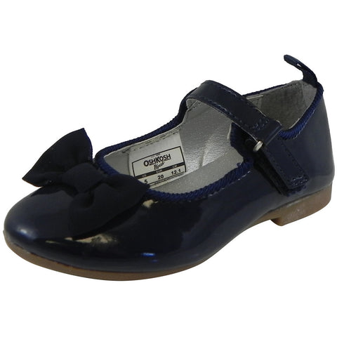 OshKosh Girl's Bella Patent Leather Hook and Loop Bow Mary Jane Flats Navy - Just Shoes for Kids  - 1
