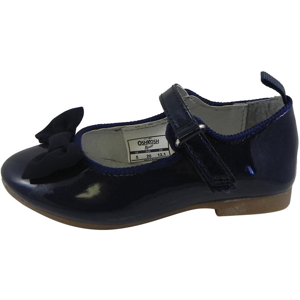 OshKosh Girl's Bella Patent Leather Hook and Loop Bow Mary Jane Flats Navy - Just Shoes for Kids  - 2