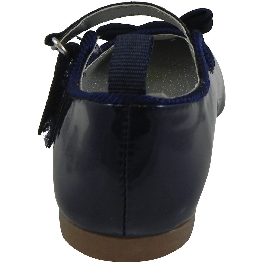 OshKosh Girl's Bella Patent Leather Hook and Loop Bow Mary Jane Flats Navy - Just Shoes for Kids  - 3